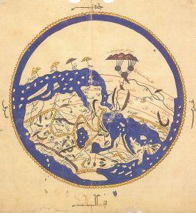 Al Idrissi, carte du monde orientée sud/nord.